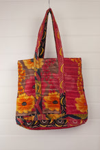 Load image into Gallery viewer, Vintage kantha tote bag, made from recycled cotton saris, in black, red and gold floral.