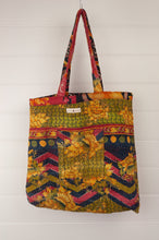 Load image into Gallery viewer, Vintage kantha tote bag, made from recycled cotton saris, in black, red and gold floral, olive reverse.