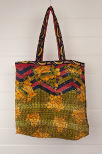 Vintage kantha tote bag, made from recycled cotton saris, in black, red and gold floral, olive reverse.