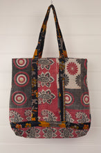 Load image into Gallery viewer, Vintage kantha tote bag, made from recycled cotton saris, in black, white and red.