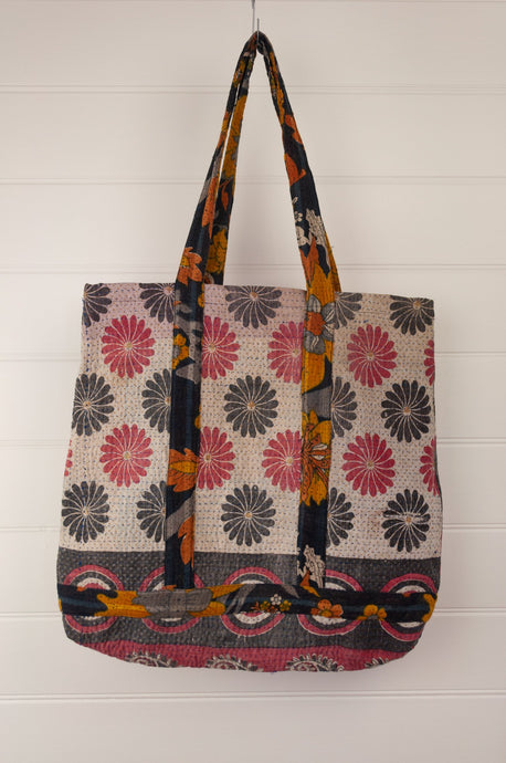 Vintage kantha tote bag, made from recycled cotton saris, in black, white and red.