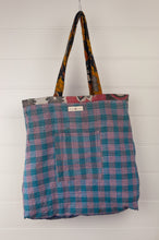 Load image into Gallery viewer, Vintage kantha tote bag, made from recycled cotton saris, in black, white and red, blue check reverse.