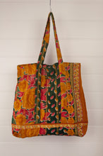 Load image into Gallery viewer, Vintage kantha tote bag, made from recycled cotton saris, in mustard, red and black.