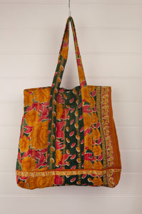 Vintage kantha tote bag, made from recycled cotton saris, in mustard, red and black.