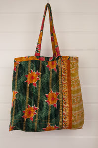 Vintage kantha tote bag, made from recycled cotton saris, in gold, red and black, green interior.