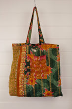 Load image into Gallery viewer, Vintage kantha tote bag, made from recycled cotton saris, in mustard, red and black, green interior.