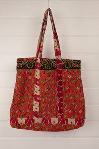 Vintage kantha tote bag, made from recycled cotton saris, in orange, red and black.