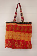 Load image into Gallery viewer, Vintage kantha tote bag, made from recycled cotton saris, in orange, red and black, gold stripe interior.