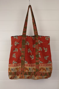 Vintage kantha tote bag, made from recycled cotton saris, in autumn tones, with paisley, spots and checks.