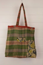 Load image into Gallery viewer, Vintage kantha tote bag, made from recycled cotton saris, in autumn tones, with paisley, spots and checks.
