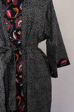 Load image into Gallery viewer, Cotton voile kimono robe dressing gown in simple white on black print, with contrast floral trim, close up.