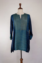 Load image into Gallery viewer, Pure silk shibori dyed kurta top with an indigo base and highlights in brighter blues and deep sage