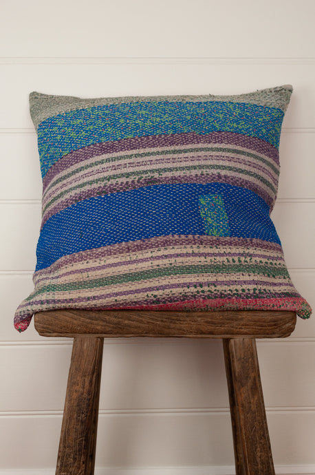 Vintage kantha cushion cover with multi-coloured stripes and patches, 45cm x 45cm.