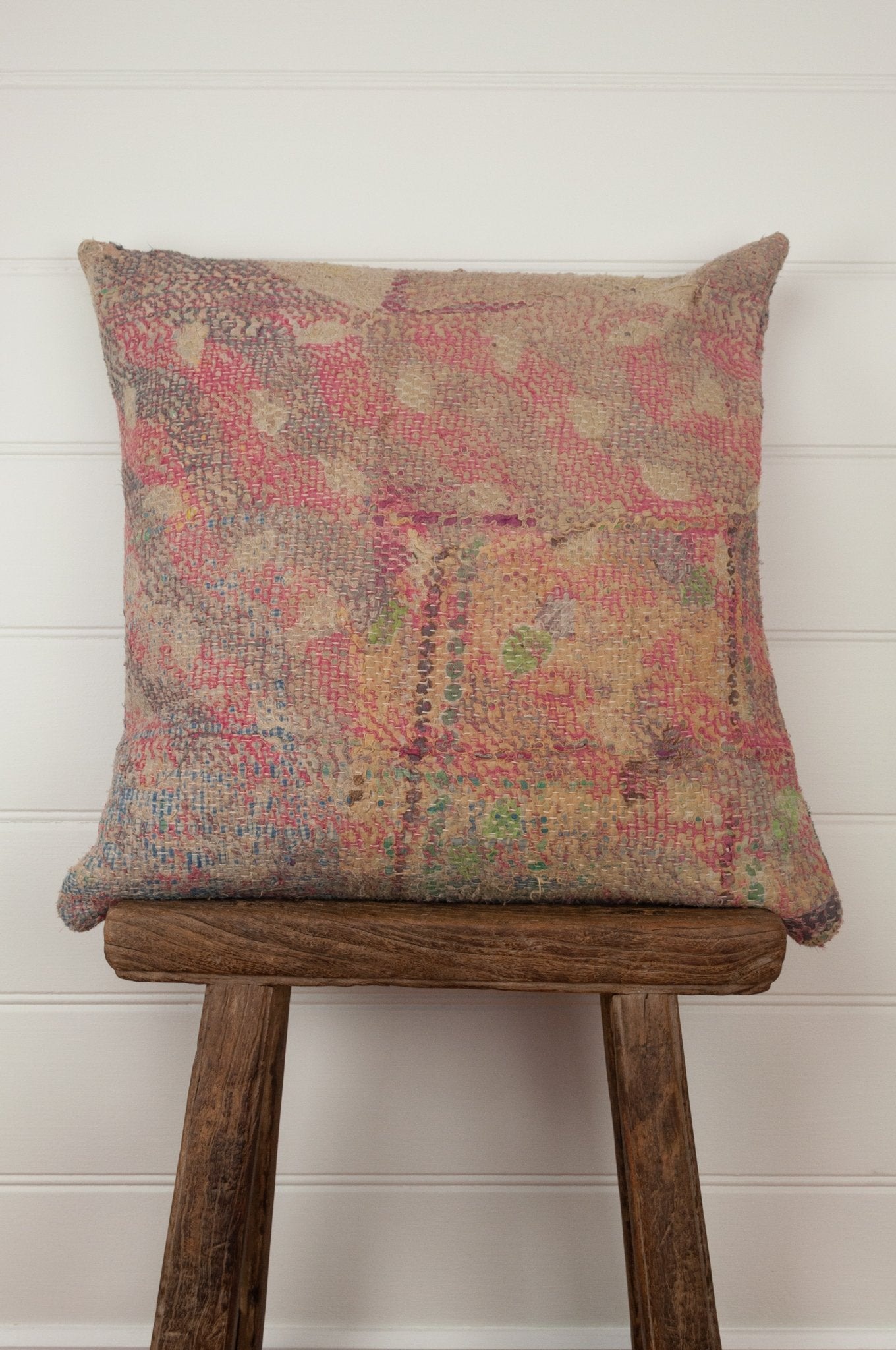 Vintage kantha cushion, in a soft floral palette of pinks, blues and lilacs, 45cm x 45cxm.