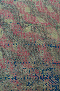 Vintage kantha cushion, in a soft floral palette of pinks, blues and lilacs, 45cm x 45cxm. Close up.