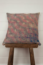 Load image into Gallery viewer, Vintage kantha cushion, in a soft floral palette of pinks, blues and lilacs, 45cm x 45cxm.