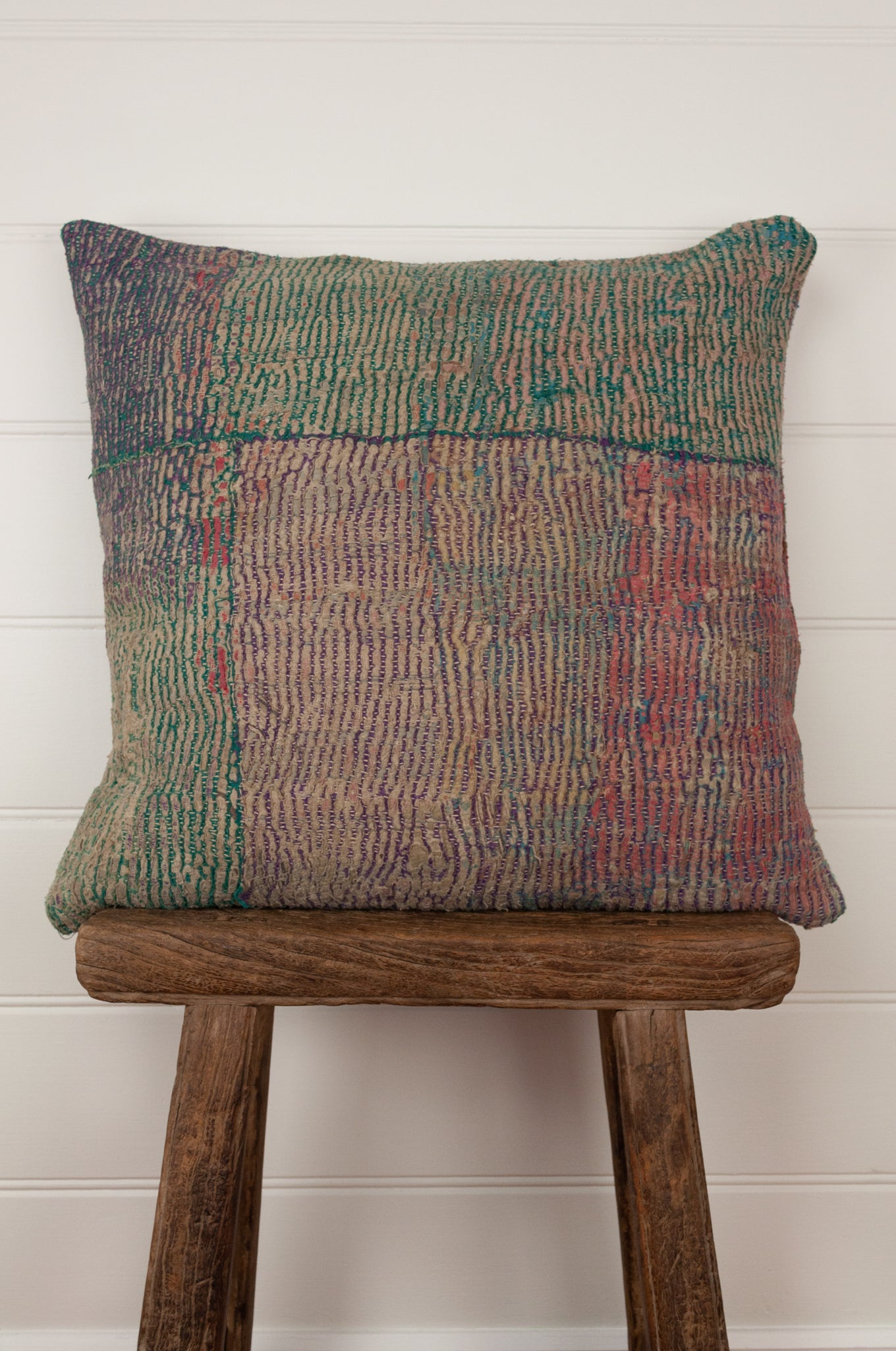 Vintage kantha cushion, in a bold palette of greens, pinks, blues and lilacs, 45cm x 45cxm.