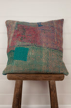 Load image into Gallery viewer, Vintage kantha cushion, in a bold palette of greens, pinks, blues and lilacs, 45cm x 45cxm.