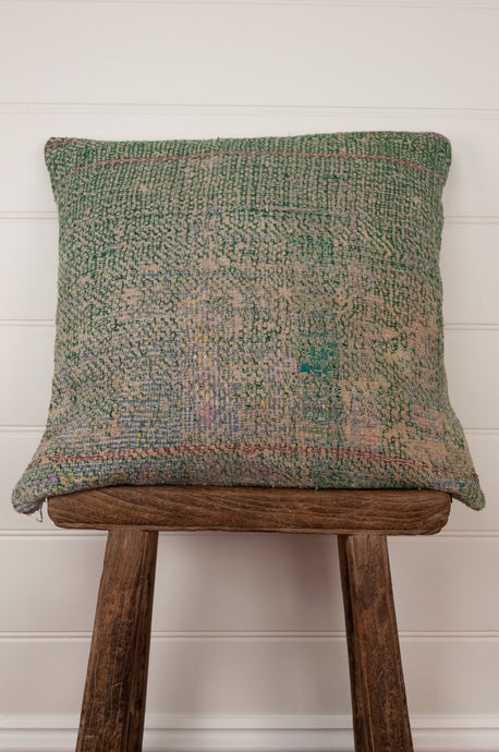 Vintage kantha cushion, heavy tweed weave on one side in greens and oatmeal, with muted vintage pastel panels on the other.
