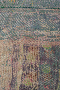 Vintage kantha cushion, heavy tweed weave on one side in greens and oatmeal, with muted vintage pastel panels on the other. Close up.