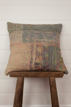 Load image into Gallery viewer, Vintage kantha cushion, heavy tweed weave on one side in greens and oatmeal, with muted vintage pastel panels on the other.