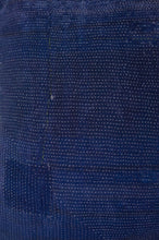 Load image into Gallery viewer, Vintage indigo kantha cushion cover, white stitching. Close up.