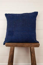 Load image into Gallery viewer, Vintage indigo kantha cushion cover, white stitching, 45cm x 45cm.