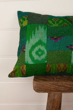 Load image into Gallery viewer, Vintage silk patchwork kantha bolster cushion, 30cmx60cm, in shades of emerald green, with ikat pieces and highlights of royal purple.