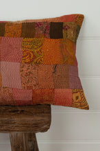 Load image into Gallery viewer, Vintage silk kantha cushion is in rich autumnal tones of orange, terracotta and vintage rose. Close up.