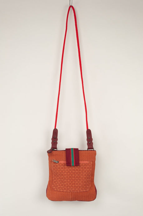 Anna Kaszer Nigi mini crossbody bag / pouch in smalt (red and orange check with burgundy accents and back).