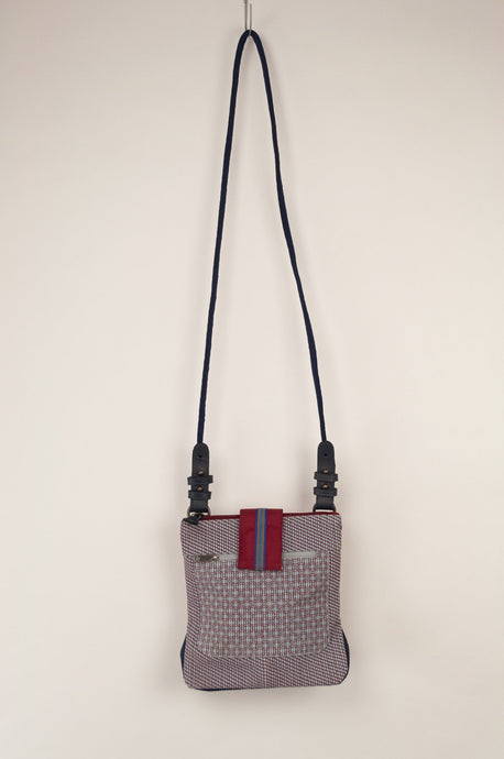 Anna Kaszer Nigi mini crossbody bag / pouch in smalt (blue check with burgundy accents and back).