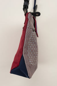 Anna Kaszer Nigi mini crossbody bag / pouch in smalt (blue check with burgundy accents and back). Side view.