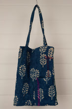 Load image into Gallery viewer, Vintage indigo kantha tote bag with internal and external pocket.
