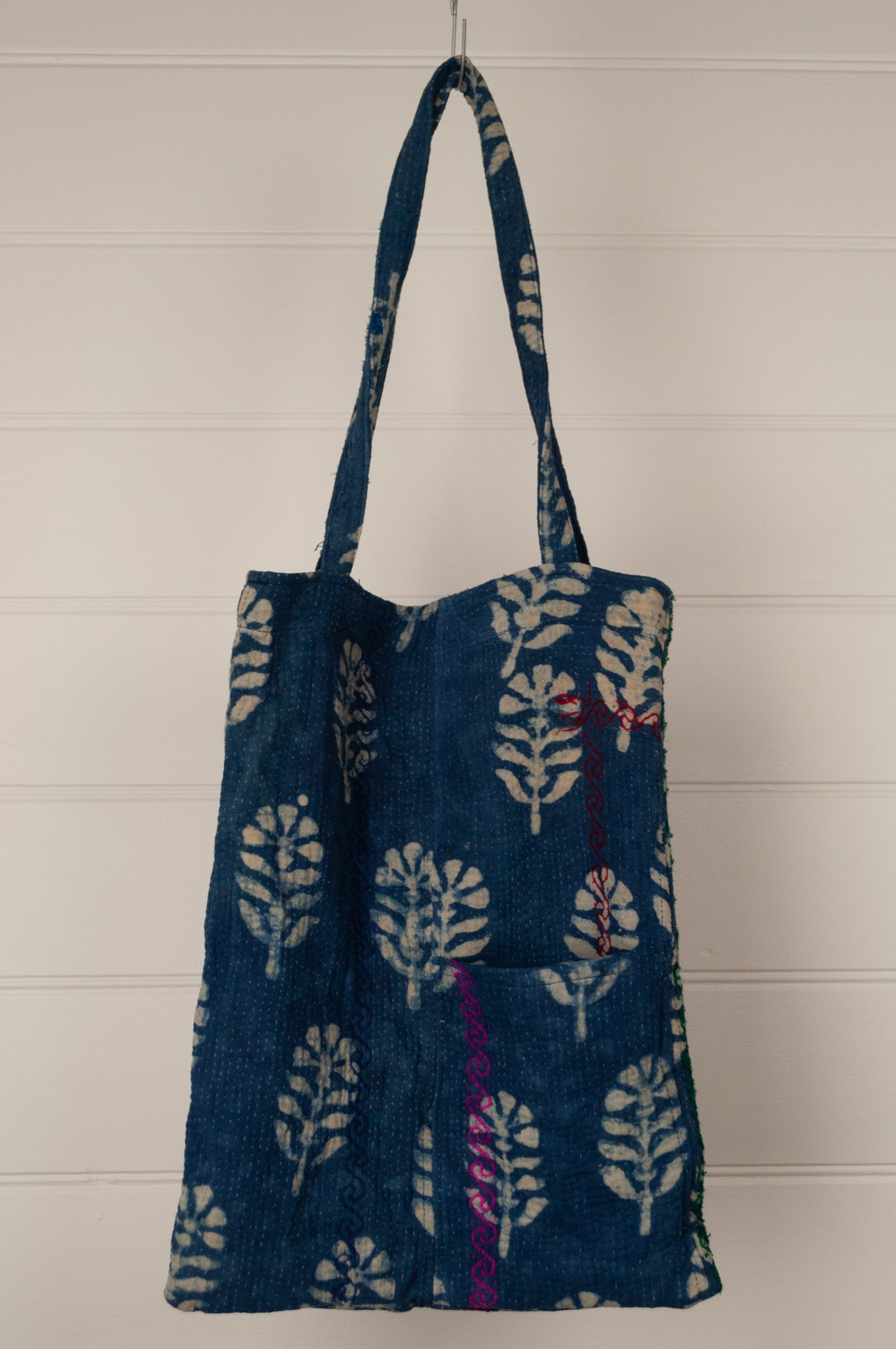 Vintage indigo kantha tote bag with internal and external pocket.