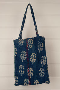 Vintage kantha tote bag - indigo (light)