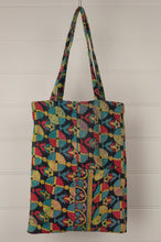Load image into Gallery viewer, Vintage kantha tote bag, geometric design in aqua, yellow, red and navy, with internal and external pocket.