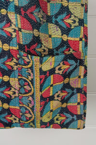 Vintage kantha tote bag, geometric design in aqua, yellow, red and navy, with internal and external pocket (close up detail).