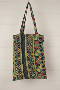 Vintage kantha tote bag, geometric design in aqua, yellow, red and navy, with internal and external pocket.