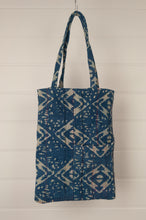 Load image into Gallery viewer, Heavy weight vintage indigo kantha tote bag with internal and external pocket.