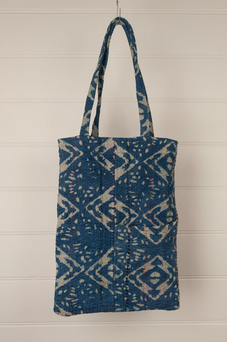 Heavy weight vintage indigo kantha tote bag with internal and external pocket.
