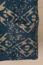 Load image into Gallery viewer, Heavy weight vintage indigo kantha tote bag with internal and external pocket (detail).
