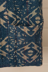 Heavy weight vintage indigo kantha tote bag with internal and external pocket (detail).