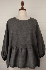 Pure wool reversible one size Anisha top, pin tuck detail and three quarter sleeve (reverse side).