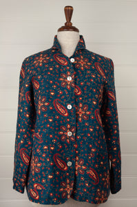 Dve Varuuni pure linen jacket, paisley print, shell buttons, patch pockets.