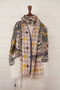 Pure wool, French design Inouitoosh scarf, floral design in soft shades of mustard, sage, taupe and pink with highlights of navy and white.