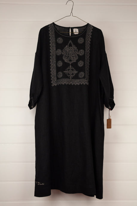 Dve 100% black linen one size Indira dress, embroidered bodice, pockets and three quarter sleeves.