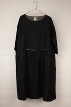Load image into Gallery viewer, Dve 100% charcoal boiled wool, one size Padma dress, embroidered detail at gathered front waist panel, pockets and three quarter sleeves.