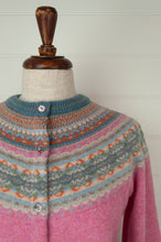 Load image into Gallery viewer, Made in Scotland, Eribé pure wool fairisle cardigan in Nougat, lolly pink with patterned yoke and trim in shades of light denim blue, orange, ecru and stone grey.