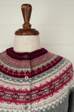 Load image into Gallery viewer, Made in Scotland, Eribé pure wool fairisle cardigan in Greyberry, soft charcoal with patterned yoke and trim in shades of rich berry reds and pinks, ecru and stone.