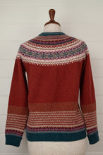 Load image into Gallery viewer, Made in Scotland, Eribé pure wool fairisle cardigan in Picalilli, lolly pink with patterned yoke and trim in shades of light denim blue, orange, ecru and stone grey.